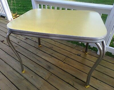 Vintage Mid Century Yellow Formica and Chrome Dinette Kitchen Table Retro