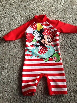 Minnie Mouse Swimsuit All In One 6-9 Months Baby Girl Disney TU Sun Swimming Cos