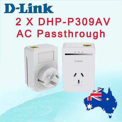 D-Link AV500 DHP-P308AV PowerLine Passthrough Network Starter Kit DHP-P309AV