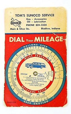 Vintage SUNOCO Gas Dial Your FORD STATION WAGON ADVERTISING TOM'S SERVICE CARD