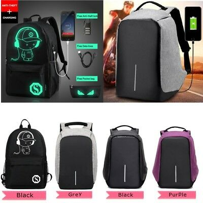 Unisex Anti-Theft Backpack Laptop USB Port Charger Travel School Bag Rucksack