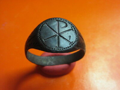 Ancient Roman Ring With Chi-Rho