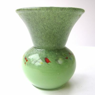 Vintage VASART Glass Vase Green Coloured Flecks Small Posy Height 9.8cm Rim 8cm