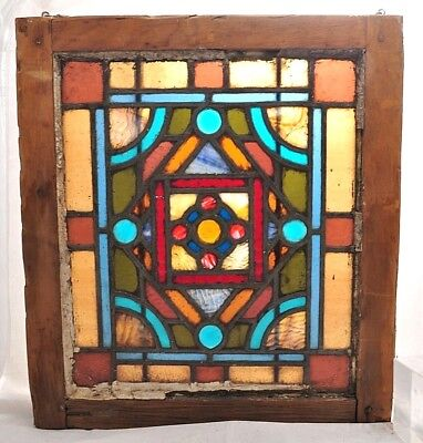Antique Stained & Slag Glass Window Textured Pcs & Jewels Architectural Salvage