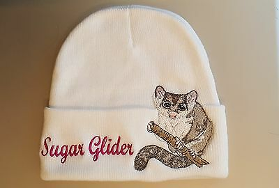 Sugar Glider Embroidered on a White  Beanie