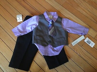 NEW with Tags Infant Baby Boys Perry Ellis 4pc Suit Vest &Tie Size 3/6mo