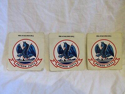Patron Fifty - Sticker Decal - Set of 3 - Blue Dragons Vintage Navy - Lot #S2