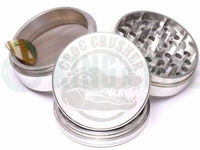 Croc Crusher - 4 Piece Grinder for Herb & Tobacco - 3.5'' Size - Silver