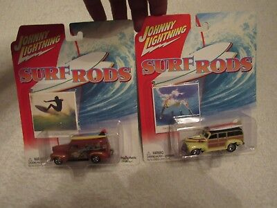 New Vintage Lot Of 2 Johnny Lightning Surf Rods 1940 Ford 1941 Chevy