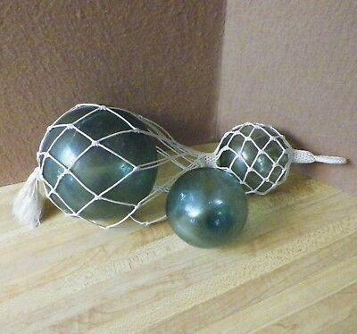 """3 Japanese Glass Fishing Floats 2 Are Netted 5"""" & 3"""" Vintage"""