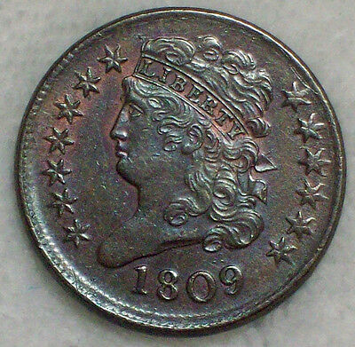 1809 HALF CENT Classic Head AU Detailing Brown Tone- Near 180 Rotated Rev HC