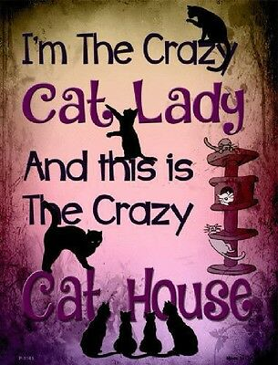 Crazy Cat Lady and Her Crazy Cat House Metal Front Porch Sign