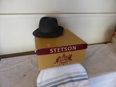 Vintage Royal Stetson Fedora Hat size 7 1/8  Gray With Box