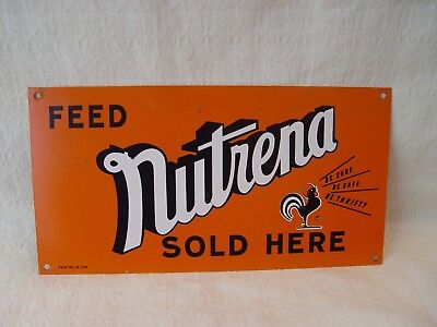 Feed NUTRENA Farm Chicken Rooster Feed Sold Here Metal Advertising Tacker Sign
