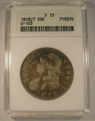 1818/7 CAPPED BUST HALF DOLLAR ANACS F 15 O-103 Large 8 TONED BEAUTY  No Issues