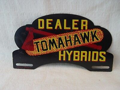 Tomahawk Hybrids Dealer Corn Seed Feed Store Advertising License Plate Topper