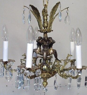 Antique Vintage Bronze Chandelier Mermaids  Light Fixture Lamp Ceiling Pendant
