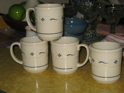 4 Longaberger Pottery Woven Traditions Blue Mugs Cups Retired EXC