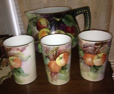 Large Vintage J P L France Limoges Pitcher & 3 Glasses Fruit Maroon  Green Gold