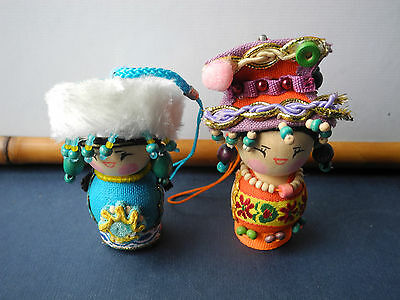 #2 Vtg. China Doll Women Fabric Bead Wood Figure Home Decor Collectible Souvenir