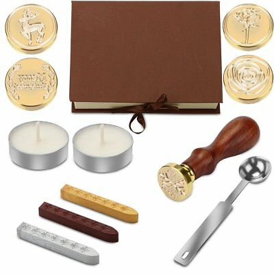 Vintage Retro Sealing Wax Seal Stamp Metal Head Letter Decors Box Set Craft Hot