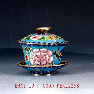 Chinese Cloisonne Hand Carved Flower Cup&Dish JTL076
