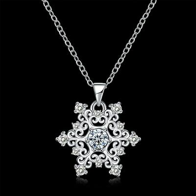 Fashion 925Sterling Silver Zircon Flower Pendant Women Chain Necklace YN1135