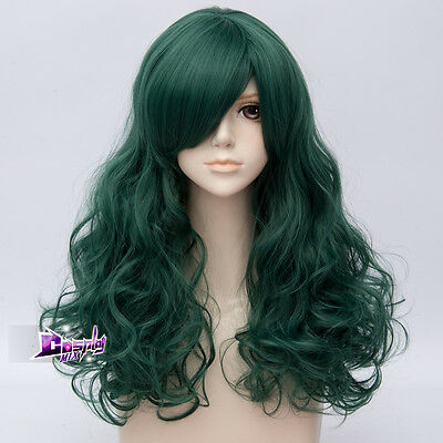 Lolita Style Pretty Dark Green 21'' Long Curly Anime Cosplay Wig Heat Resistant