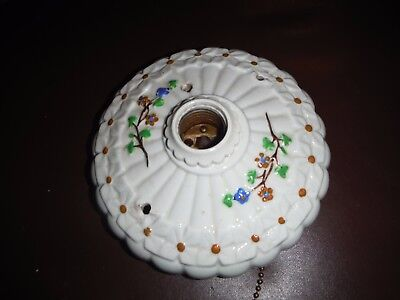 Vintage Antique Porcelain Round Art Deco Ceiling Light Fixture With Flowers