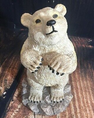 Large Polar Bear Standing Figurine Rock Wilderness Hunting Manly Decor Nature