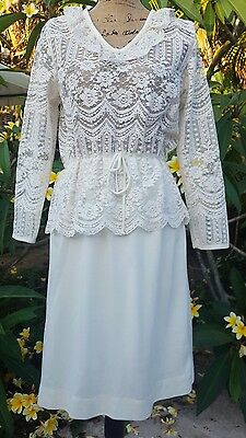 Vintage SM/MD Handmade Ivory Lace and Polyester Peplum Dress