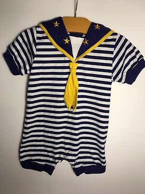 Vintage unisex sailor one-piece romper, jumper outfit nautical neutral Halloween