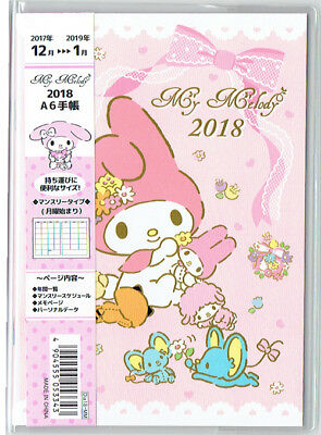 My Melody 2018 Calendar Schedule Book A6 Size Japanese Holidays Sanrio Kawaii