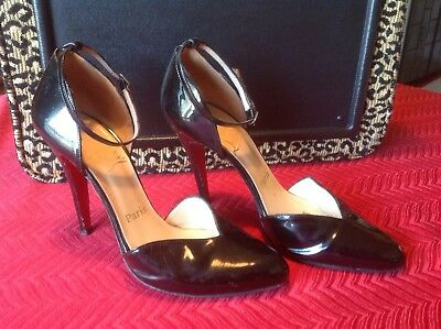 Christian Louboutin Black Patent Leather High Heel Ankle Strap Pumps.....39.5(9)
