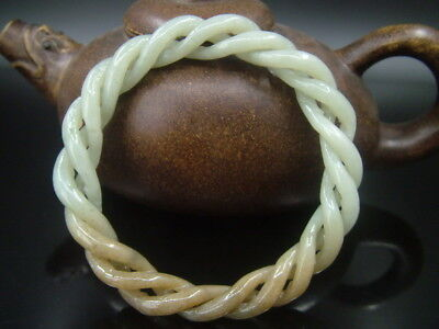 Antique Old Chinese Nephrite Celadon Brown sugar Jade 3-Twisted silk  Bracelet