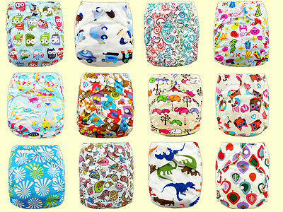 Baby Printed Cloth Nappy Reusable Cloth Nappies Diaper Covers Liner Insert LIUS