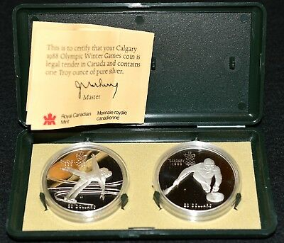 1988 Calgary Olympics SILVER PROOF CURLING SKATING 2-Coin Silver Set CASE & COA!
