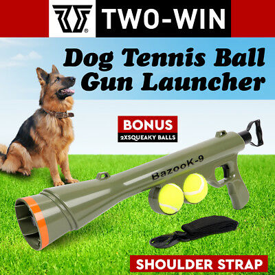 Dog Tennis Ball Gun Launcher w/2 Squeaky Balls Pet Play/Fetch/Throw Outdoor Toy