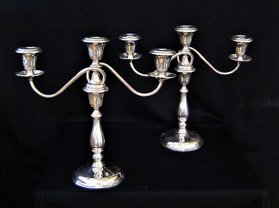 Sterling Silver Candelholders Weighted Circa 1910