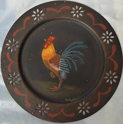 """Rooster Plate Hand Painted signed Bettyann K Wall Decor Tin Type 8 3/4""""  Rustic"""