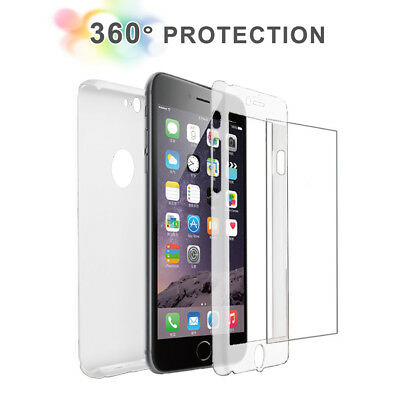 For iPhone 8 /8 Plus Full Body Crystal Clear Case Cover+Tempered Glass Protector