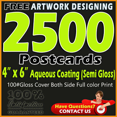 """2500 Postcards Printing 4""""x6"""" Full Color 2 Sides Aqueous Coating-Free Designing"""