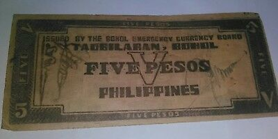 Philippines - Bohol  Currency 1942 $5 note WWII **  Free Shipping **