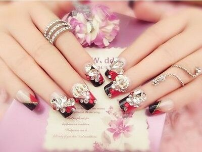 A21''Japanese Style Bling Bling Drill Nail Tips Completed Press-OnFake Nails