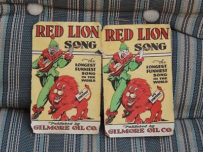 RARE 1937 GILMORE RED LION GASOLINE OIL GIVE-AWAY, LONGEST SONG IN  WORLD Circus