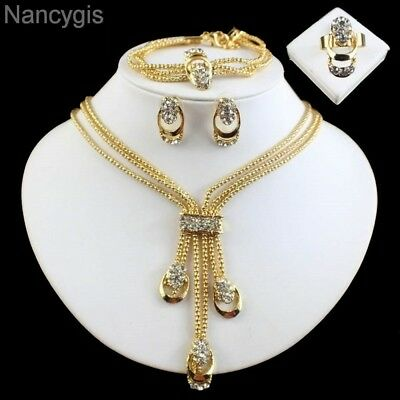 Gold Plated Crystal Tassel Necklace Bracelet Earrings & Ring Party Jewellery Set