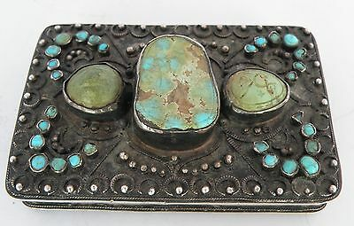Antique Persian, Islamic, Turkish Sterling Silver & Turquoise Case, Box Arabic