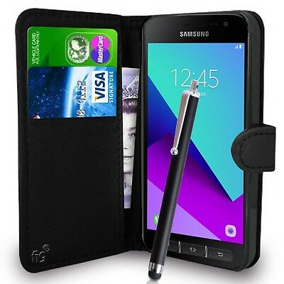 Black Wallet Case PU Leather Book Cover For Samsung Galaxy Xcover 4 G390F Mobile
