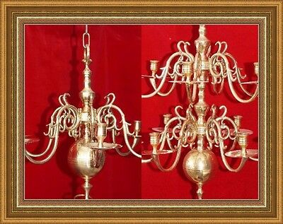 Antique SET (TWO) 12 & 6 Arms Brass Bronze Chandeliers Candle Holder Lamp 18th c