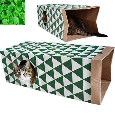 Cat Tunnel Toys Foldable Pet Fun Kraft Paper Tunnel Kitten Dog Play With Ball
